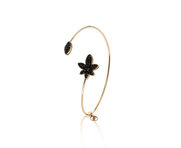 BRACELET BANGLE LUCKY LEAF black