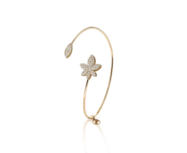 BRACELET BANGLE LUCKY LEAF white