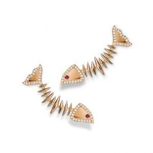 EARRINGS MOVING SKELETON FISH