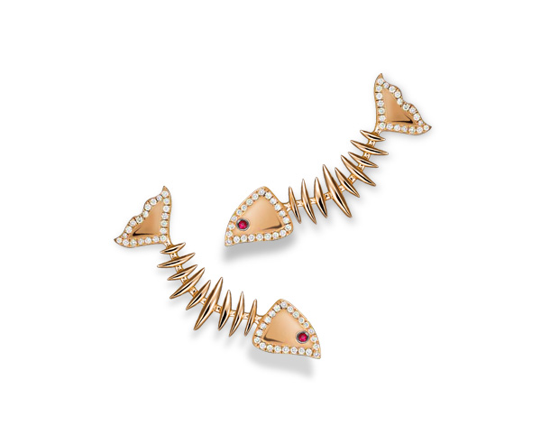 EARRINGS MOVING SKELETON FISH