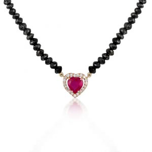 NECKLACE HEART BLACK BEADS